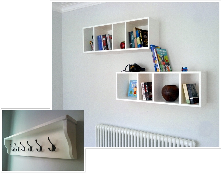 White floating box shelving
